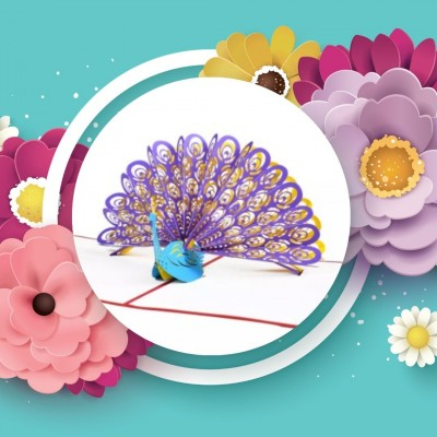 Greeting Card - PEACOCK - POP UP 3D