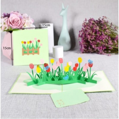 Greeting Card - TULIP GARDEN - POP UP 3D